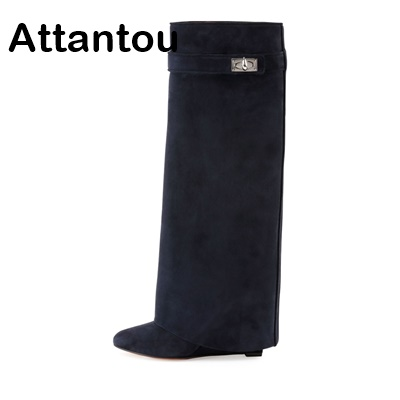 Hot sale Top Quality Real Leather Woman Shoes Winter Over The Knee High Boots long Tube High Female Wedge Heeled Booty hot sale 2016 top quality brand shoes for men fashion casual shoes teenagers flat walking shoes high top canvas shoes zatapos