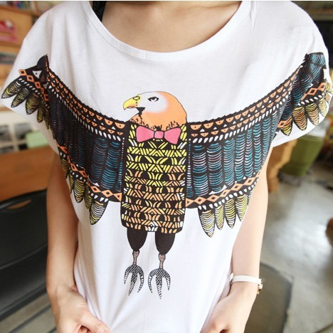 NEW ARRIVAL 2013 summer women's m5105 casual eagle loose plus size o-neck short-sleeve T-shirt  FREESHIPPING