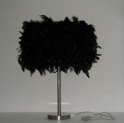 Simple feather table lamps personality black white feather living room bedroom bedside lamp study table lights ZA personality feather tassel belt