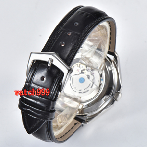 Image 5 - BLIGER 39 mm white dial sapphire glass date movement automatic mens watch stainless steel belt waterproof mechanical watch