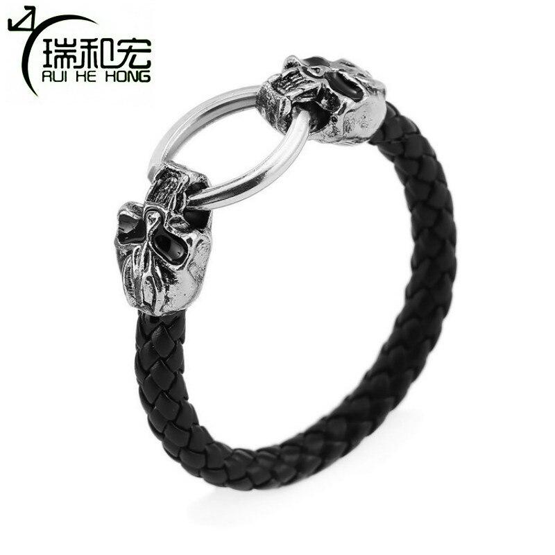 Man Skeleton Bangle Alloy Skull Braid Leather Bracelets & Bangles Hand Chain Pulseira Masculina Punk Style Jewelry