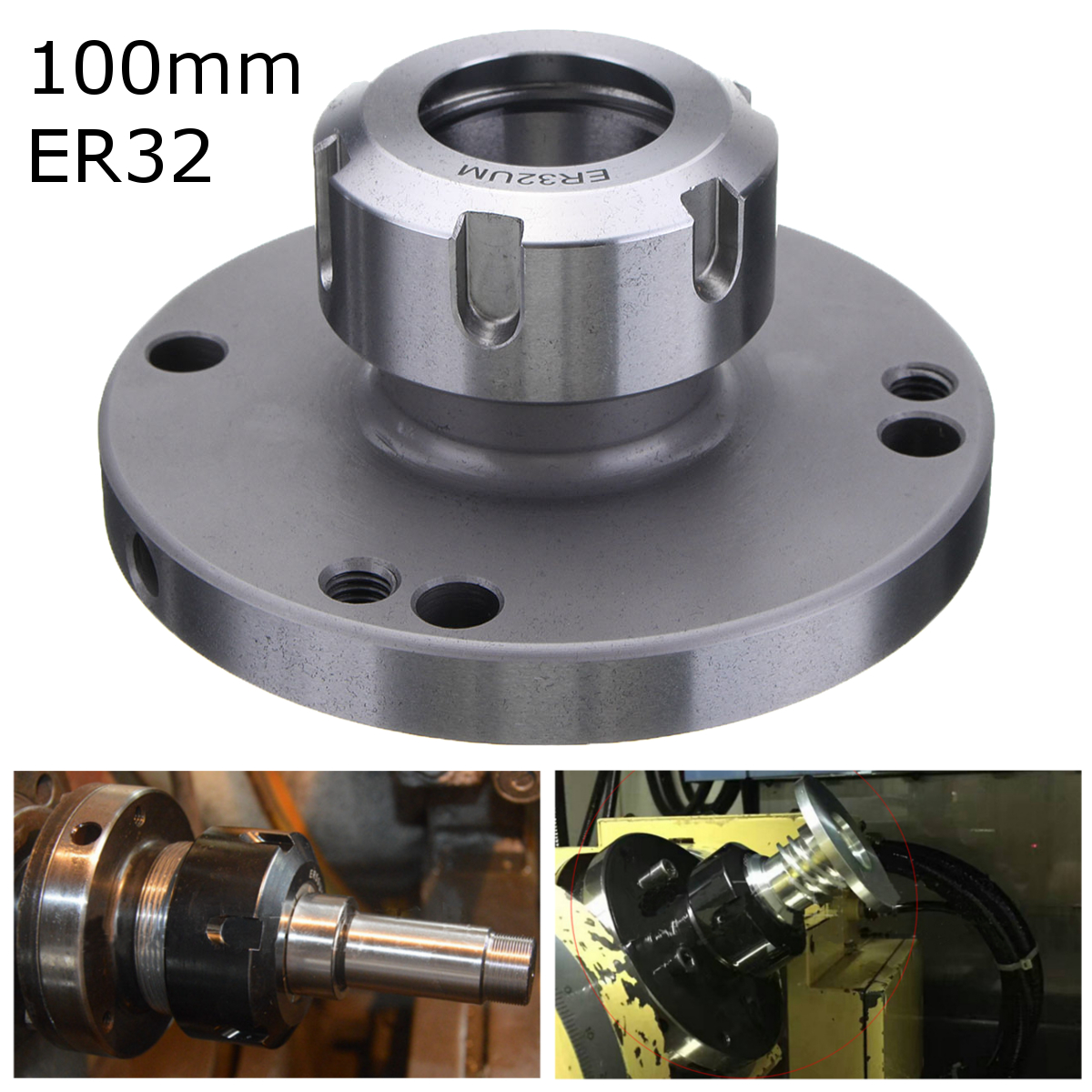 ER-32 Collet Chuck 100MM DIAMETER Compact Lathe Tight Tolerance For Milling