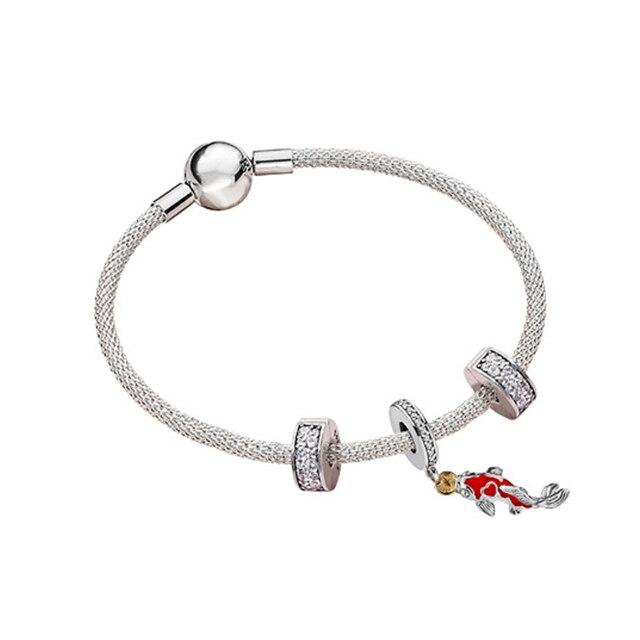 925 argent Sterling brillant Clip éblouissant souhaits Koi cristal pendentif ensemble CZ clair Fit femmes bracelet perle charme bijoux à bricoler soi-même