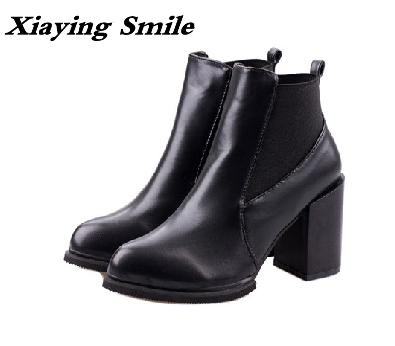 Xiaying Smile Winter Women Short Ankle Boots Zipper Fashion Casual Solid Slip On Shoes Warm Pointed Toe Pumps Square Heel Boots xiaying smile summer women sandals casual fashion lady square heel slip on flock shoes pointed toe cover heel lace bowtie shoes