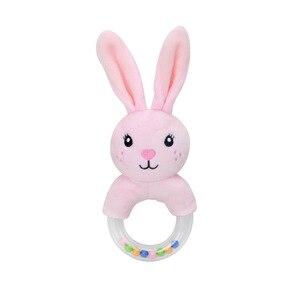 Image 4 - Nette Baby Rassel Spielzeug Kaninchen Plüsch Baby Cartoon Bett Spielzeug baby 0 12 monate Bildungs baby rassel Kaninchen Hand glocken погремушки