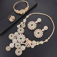 Делюкс Blossom золото Модные украшения набор кубического циркония Дубай индийские украшения комплект Цепочки и ожерелья браслет серьги кольц