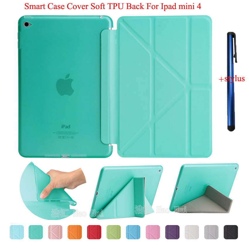 For Ipad Mini 4 Smart Case PU Leather Auto Wake UP Sleep Matte Transparent TPU Back Cover Soft Protect Flip Stand + One Stylus for apple ipad air 2 case pu tpu cover ultra thin smart wake up sleep 9 7 inch for ipad 6 soft full protect stand case stylus