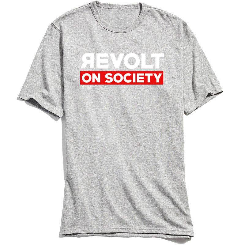 Cotton Fabric Male Short Sleeve Revolt On Society T-Shirt Comics Tees 2018 Discount Print Crewneck Tops & Tees Revolt On Society grey