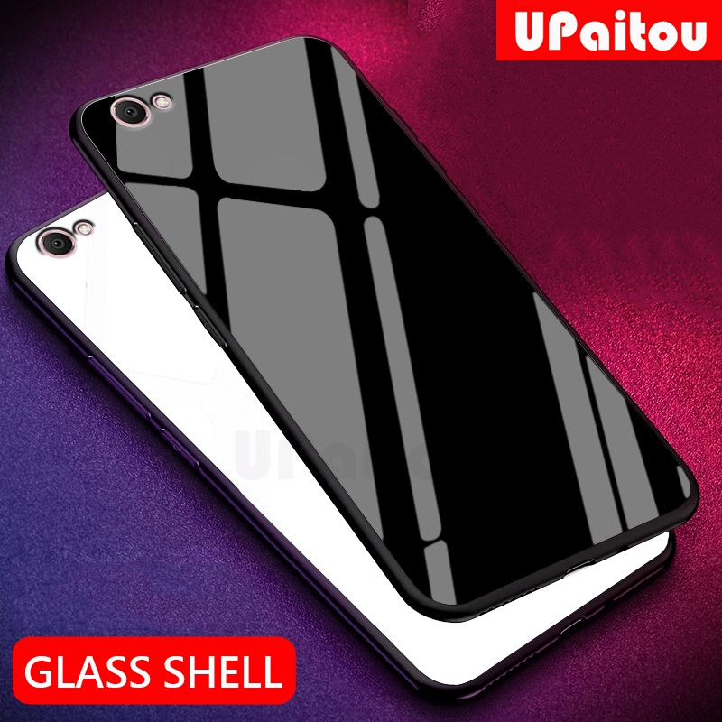 UPaitou Luxury Tempered Glass Case for VIVO Y67 Y66 Y65 Y55 Y53 Y53I Case TPU Bumper Shockproof Case for vivo y66