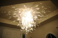 White Glass Crystal Celling Light Flower Led Celling Lamp Home Decoration Living Room Style Ceiling Lights with LED Bulb