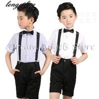 (Straps+shirt+bow tie+pants)Boy Clothes Suit Kid 4 Pcs Black Children Spring Summer Formal Clothing Set For Wedding kids clothes