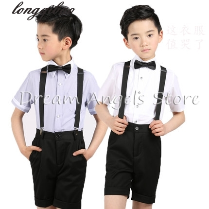 (Straps+shirt+bow tie+pants)Boy Clothes Suit Kid 4 Pcs Black Children Spring Summer Formal Clothing Set For Wedding kids clothes