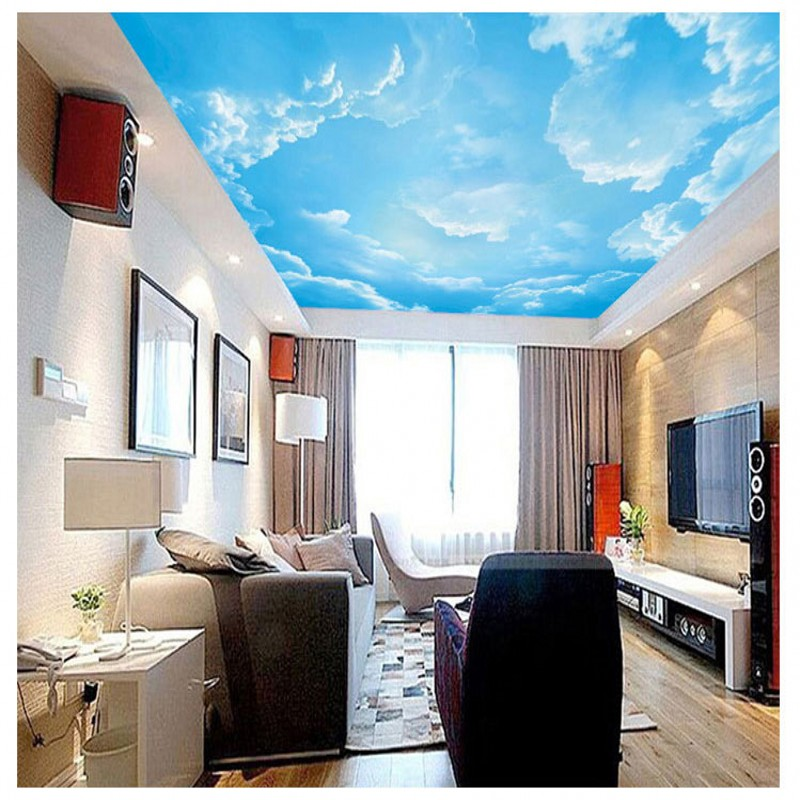 Custom photo wallpaper Living room roof wallpaper 3D stereo blue sky white clouds wallpaper sofa ceiling wallpaper custom 3d stereo ceiling mural wallpaper beautiful starry sky landscape fresco hotel living room ceiling wallpaper home decor 3d