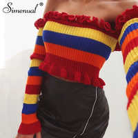 Simenual Rainbow stripes off shoulder crop top lady's sweater fashion ruffles sexy hot pullover female autumn women sweaters new