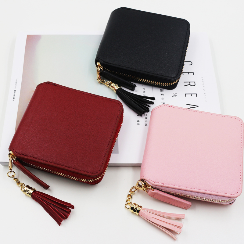 High Quality Square Women Coin Holders Wallet Female Leather Tassel Zipper Mini Wallets Clutch Bag Card Holders Short Purse