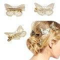 2016 Superventas, nuevo 1 Par Mujeres de La Mariposa de Oro Pinza de Pelo Headwear Accesorios para El Cabello Diadema de Oro Celada