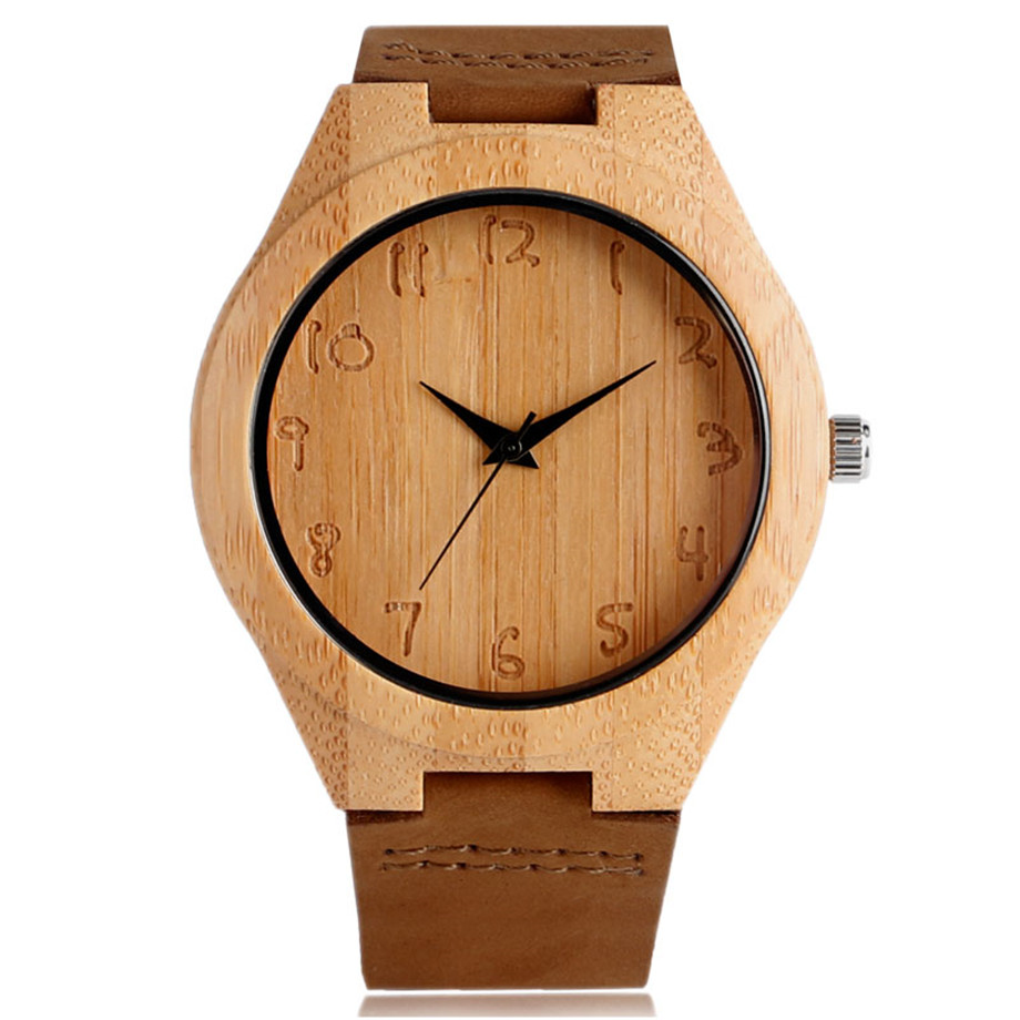Simple Men Women Bamboo Watch Hand Carved Arabic Number Dial Genuine Leather Band Cool Male Female Nature Casual Wood Wristwatch simple fashion hand made wooden design wristwatch 2 colors rectangle dial genuine leather band casual men women watch best gift