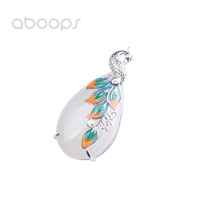 925 Sterling Silver Enamel Peacock Pendant White Stone for Women Girls Free Shipping925 Sterling Silver Enamel Peacock Pendant White Stone for Women Girls Free Shipping
