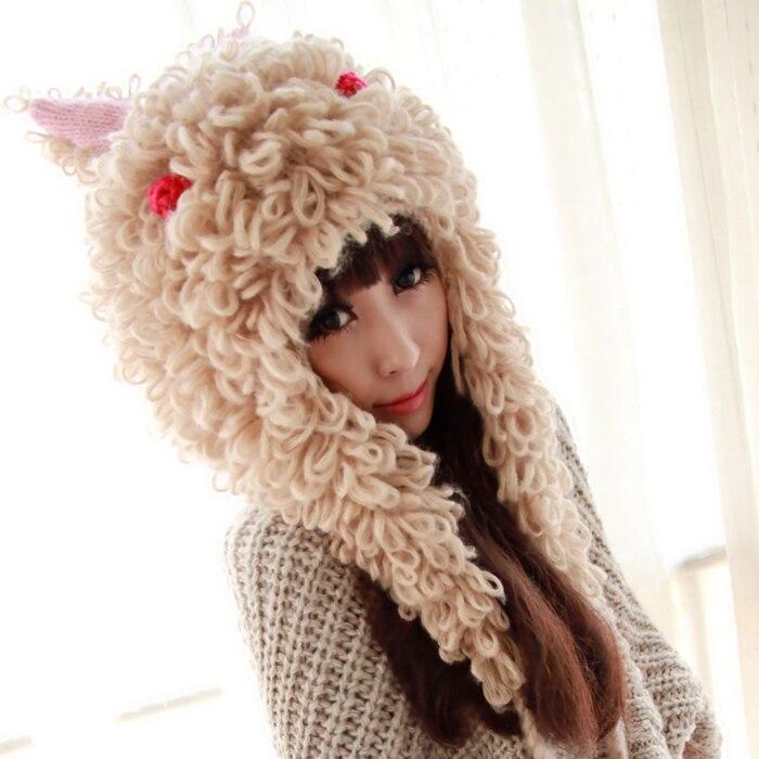 ФОТО Princess sweet lolita hat warm autumn and winter large rabbit alpaca space circle ears hair ball woolen knitted hat