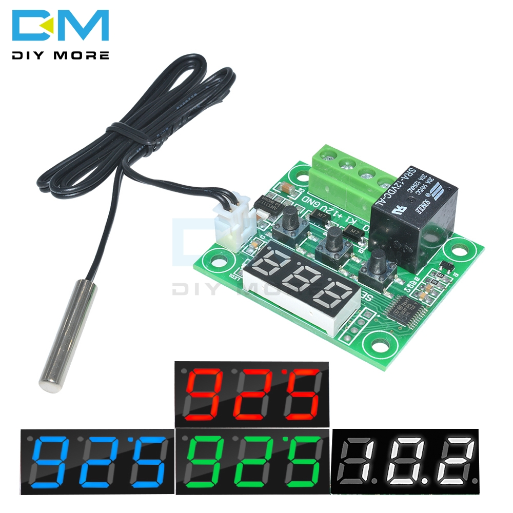 W1209 DC 12V Red Blue Green White LED Digital Thermostat Temperature Control Thermometer Switch Module + NTC Sensor