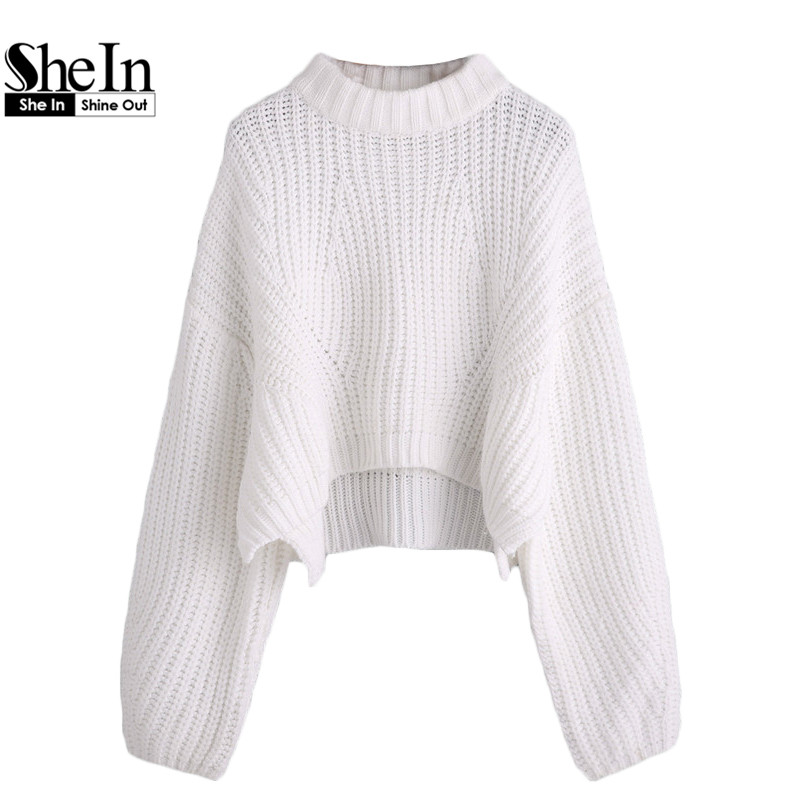 SheIn Womens Casual Pullover Sweaters Ladies Autumn White Crew Neck Drop Shoulder Long Lantern Sleeve Loose Crop Sweater