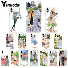 Yinuoda Fashion coffee girl Paris New York Transparent Cell Phone Case for Apple iPhone X XS MAX  8 7 6 6S Plus 5 5S SE XR Cover