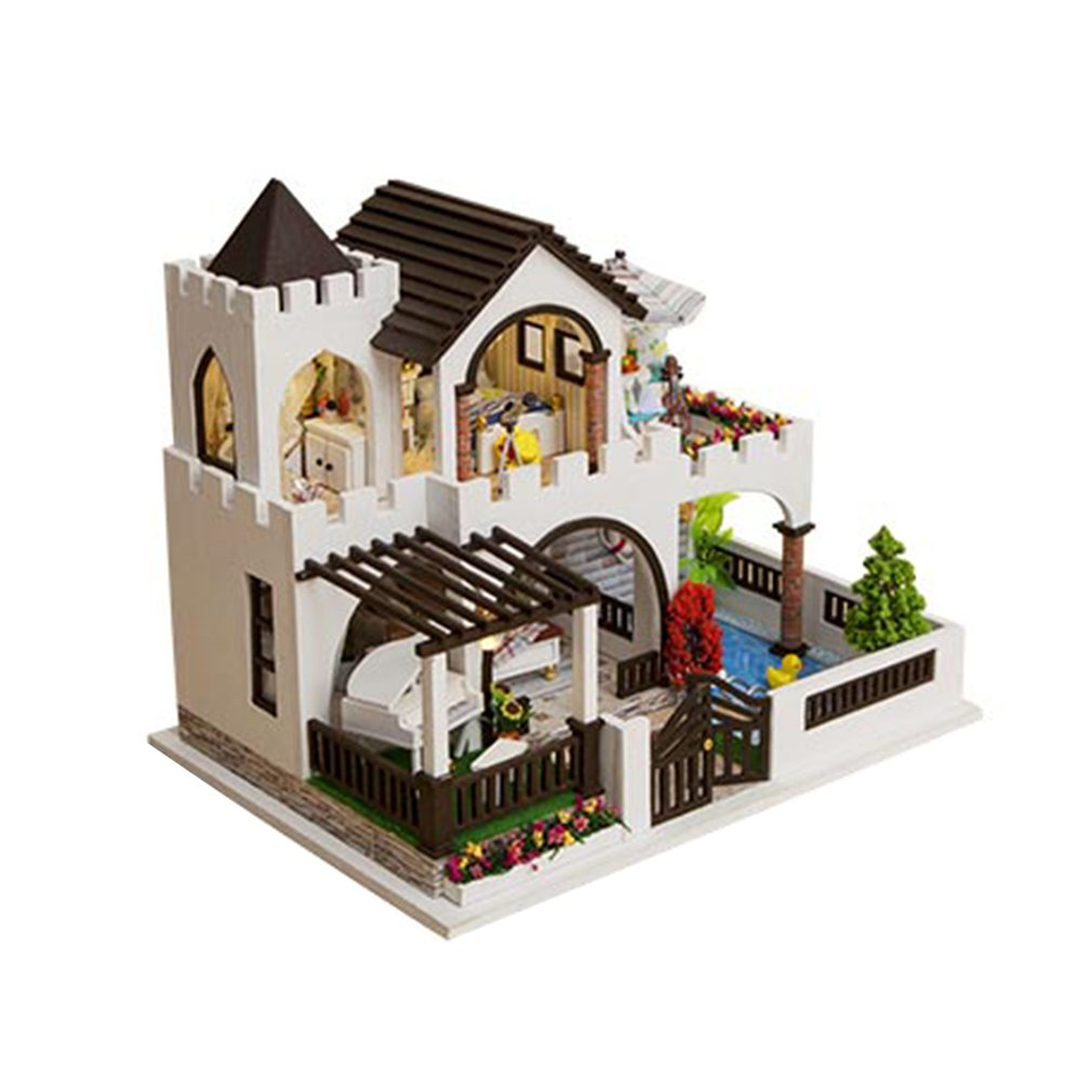 OCDAY DIY Dream Castle Big Villa Miniature Dollhouse With Furnitures 3D Wooden Model Doll House Toys For Children Birthday Gift wooden dollhouse diy miniature house seattle villa big doll house with car and dust cover toys for girl birthday gift christmas