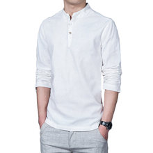 d63824a617 2018 ropa de primavera Camisas hombres manga larga abuelo chino Camisas  hombres camisa de lino suéter bandas cuello Camisas ropa.
