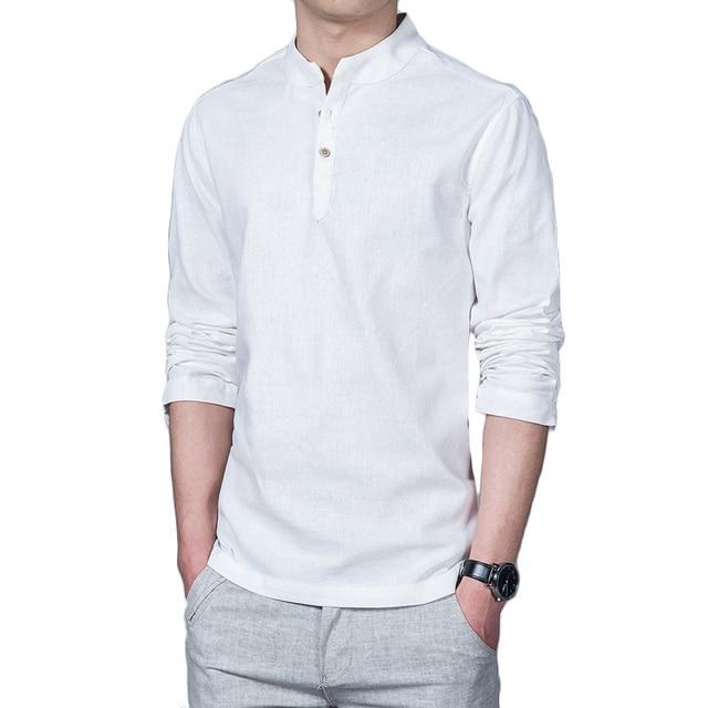 25315c381 2018 Spring Linen Shirts Men Long Sleeve Grandad Chinese Shirts Men Linen  Shirt Pullover Banded Collar Shirts Social Clothes 5XL