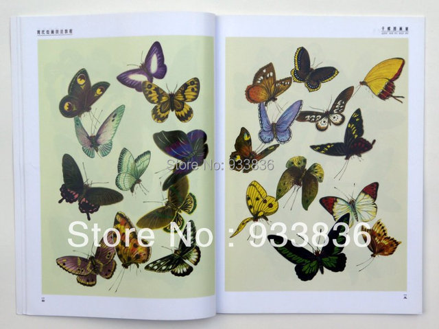 Chinoise album livre de peinture de papillon tatouage - Impression photo gratuite sans frais de port ...