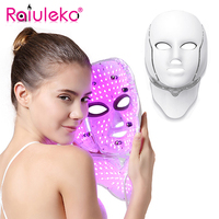 Raiuleko LED Facial Mask Beauty Skin Rejuvenation Photon Light 7 Colors Mask with Neck Therapy Wrinkle Acne Tighten Skin Tool