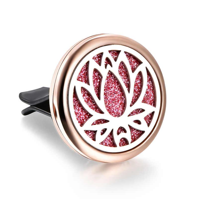 Arbre de vie acier inoxydable voiture amovible diffuseur d'huile essentielle collier or Rose parfum Diffusion Diffusion médaillon d'air frais