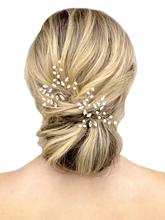 FEECOLOR Wedding Silver Hair Pins Bridal Pearl Accessories for Brides and Bridesmaids Pack of 10 (Gold)
