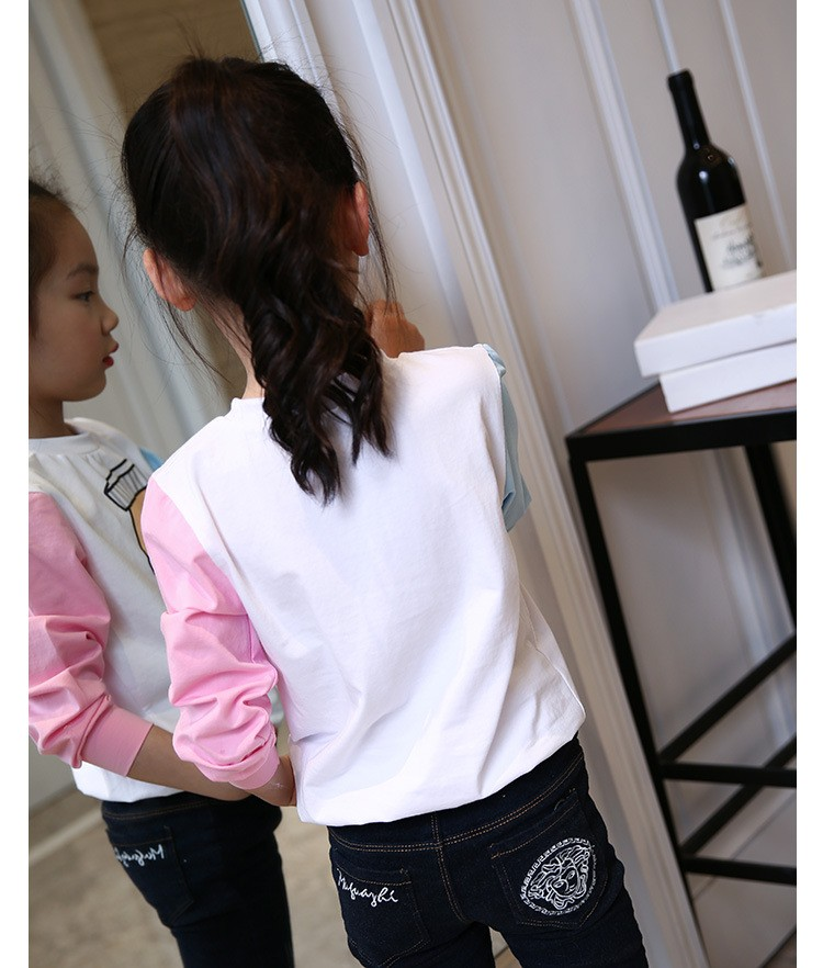little teenage girls t-shirt character girls tops blue white pink patchwork tees girl tshirt 2016 spring autumn kids clothes  6 7 8 9 10 11 12 13 14 15 16 years old big little teenage girls long sleeve t-shirts children clothing (7)