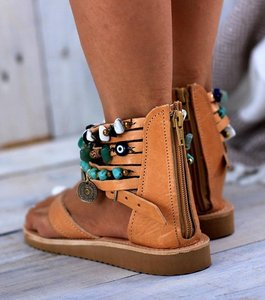 Image 5 - Ankle Wrap Cover Heel Women Gladiator Flat Sandals  Leisure Rome Summer Beach Sandals Solid Chain  Rome Shoes