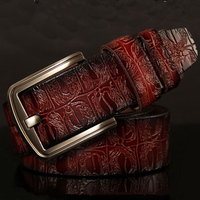 brand new fashion wide belt mens high quality embossing genuine leather belts pin buckle camel girdle brown jeans riem 115 cm