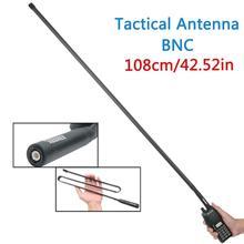 Antena táctica plegable CS para Walkie Talkie TK300 Icom IC F50V Radio, conector BNC de 108CM, banda Dual, 144/430Mhz