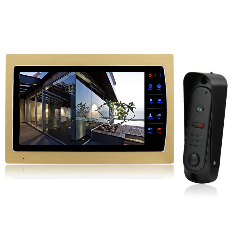 YSECU Video Door Phone Intercom System Support SD Card Recording & Picture Memory 10'' Touch Key Indoor Monitor with Doorbell