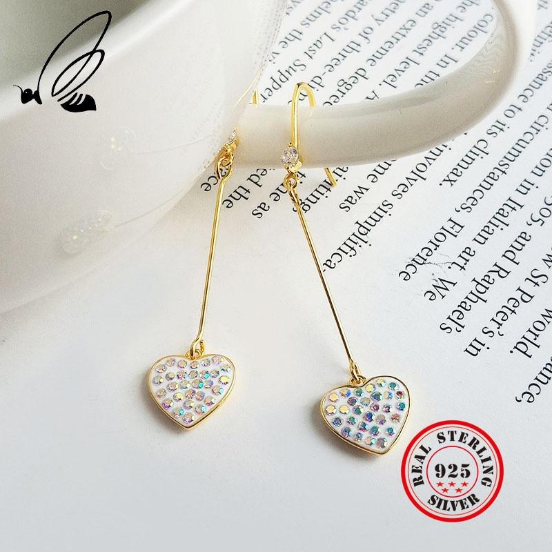 Heart Star Drop Earring 100 925 Sterling Silver Earings For Women Gold Color Rhinestone Fashion Jewelry Ear Ring Bijoux Femme in Drop Earrings from Jewelry Accessories