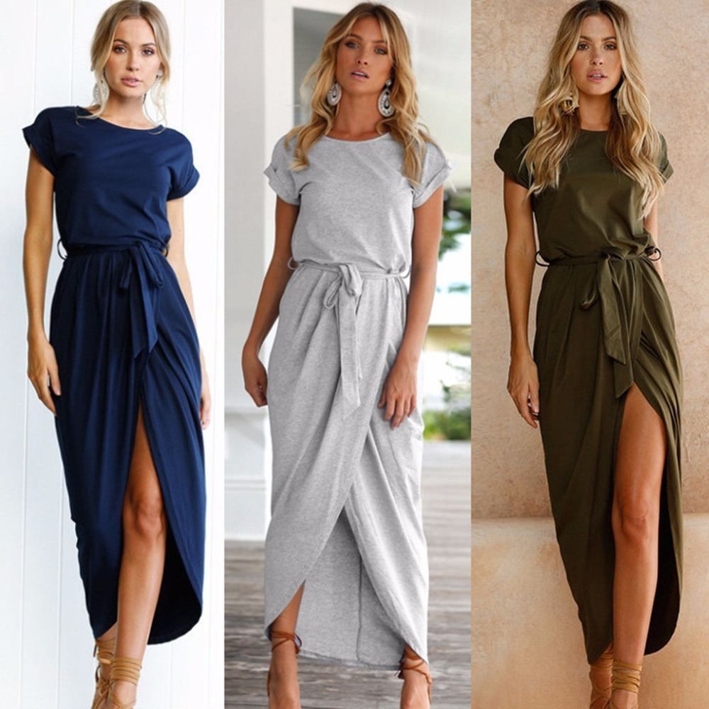 Online Shop Dress Women Summer 2018 Soild Color Plus Size Women Long Dress  Short Sleeve Sexy Irregular Elegant Party Maxi Dresses LDQ719  127d0772151b