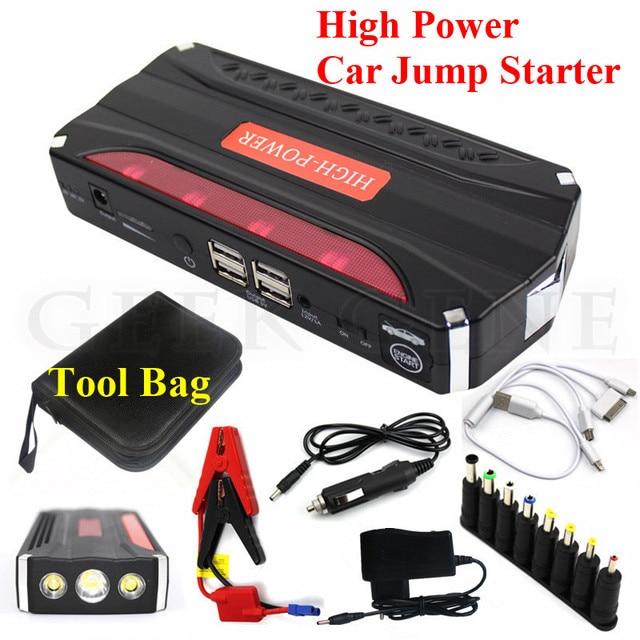 A++ Quality 12V Car Potrtable 12000mAh Jump Starter Mini 600A Peak Car Jumper Booster Power 4USB Power Bank SOS Lights Free Ship