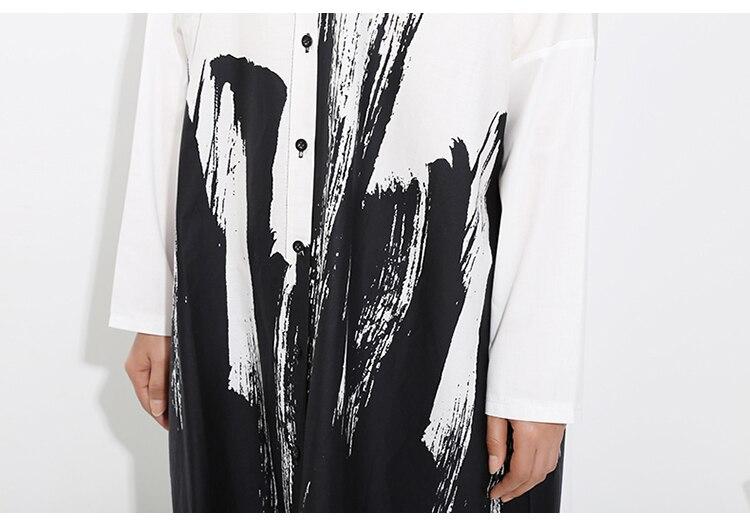 Manga comprida Vestido de Camisa de Impressão
