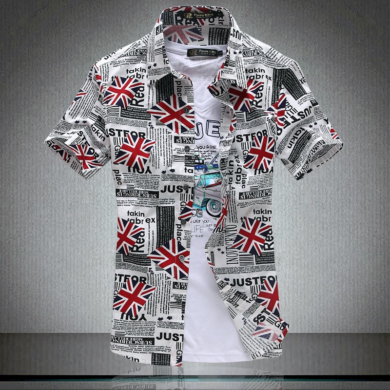 Designer Short Sleeve Floral Custom Cotton Slim Shirt