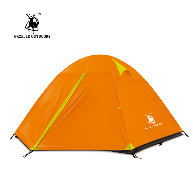 GAZELLE 3 Persons Camping Tent Ultralight Double Layers Tent Outdoor Waterproof Camping Tent Hiking t700 full carbon road bicycle frame bb386 road bike 3k weave 54cm in stock 3 days delivery