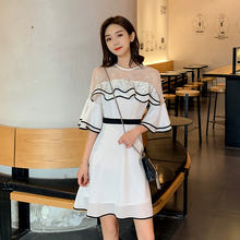 EAD Splice Ruffle Transparent Lace Women Summer Dress Flare Sleeve High Waist White Elegant Ladies Party Dresses Mini Vestido