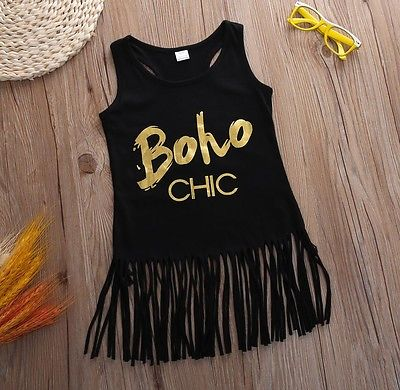 NEW Toddler Kids Baby Girl Summer Clothes Sleeveless Tassel Tops T-Shirt Dress V
