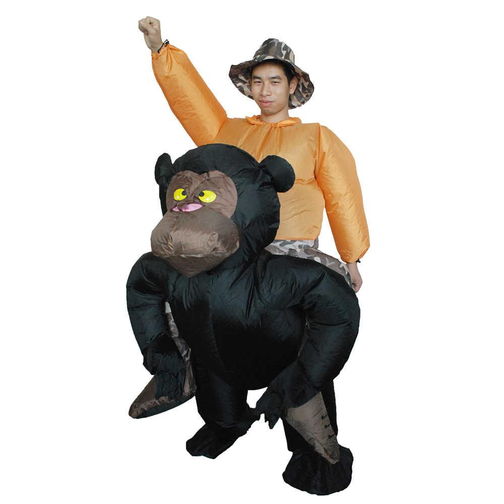 Взрослых надувные шимпанзе Хэллоуин костюм взорвать костюмированный фестиваль партии надувные черный орангутанг наряд комбинезон
