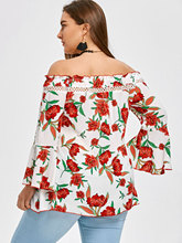 Casual Off Shoulder Floral Blouse for Women