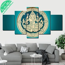 Лучший!  5 Шт. Синий Ганеша Лорд Холст Картины Wall Art Pictures Печать на Холсте Home Decor Плакат Украшения Лучший!