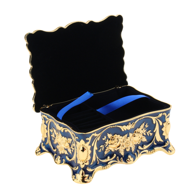 2 Layer Blue Large Vintage Metal Trinket Jewelry Boxes Gift Storage Organizer Gift for Girls Teens